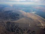The south end of the Salton Sea, through a (very dirty) plane window